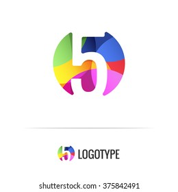 Number five. Vector colorful alphabet element. Negative space forms a circle. Bright and fresh design letters for children's parties and fun celebrations. Beautiful logo, monogram, anniversary.