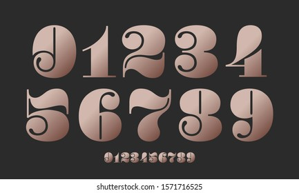 Number font. Font of numbers in classical french didot or didone style with contemporary geometric design. Beautiful elegant numerals. Vintage and old school retro typographic. Vector Illustration