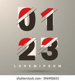 Number font template. Set of numbers 0, 1, 2, 3 logo or icon. Vector illustration.