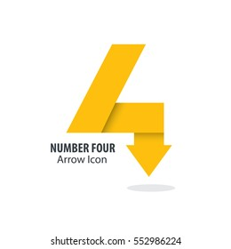 Number Four and Arrow Icon Logo
