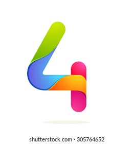 Number four colorful volume icon. Vector design template elements for your application or corporate identity.