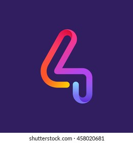 Number four logo formed by colorful neon line. Vector design for banner, presentation, web page, card, labels or posters.