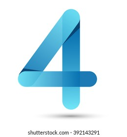 Number four Paper cut style with blue color on white background