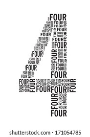 Number Four signs vector images