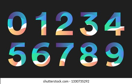 Number gradient character colorfull