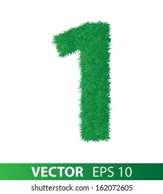 number of green grass on white background, vector eps 10 illustration