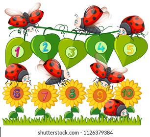 A Number with Ladybug and Flower illustration