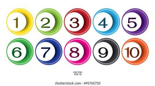 Number letter circle line color concept. Number one to nine letter. Alphabet font set.