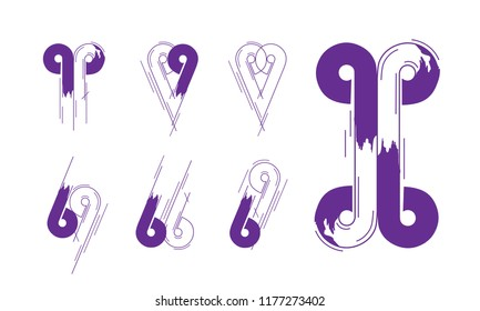 Number And Letter Creative Logotype Concept Collection in Vector. Modern abstract Design and logo elements in Violet Color.