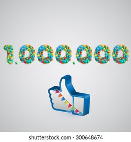 Number of likes with a thumbs up sign, vector
