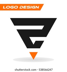 Number logo design. Number two 2 isolated on white background. Vector flat icon or logo template