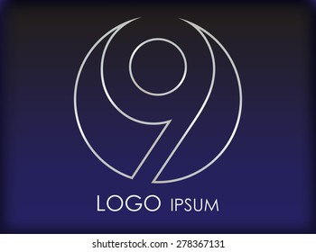 Number logo design.Number nine logo.Logo 9 vector template.