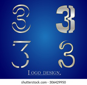 Number logo design.Number three logo.Logo 3 vector template.
