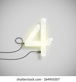 Number made by neon font, vector
