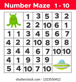 Number maze, math puzzle game for children. Help the alien find way to the UFO. Counting from one to ten. Worksheet for preschool and school kids. Vector illustration.