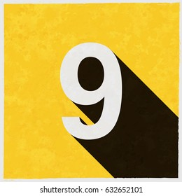 Number Nine, 9 on retro poster with long shadow. Vintage sign with grunge effects. Vector illustration, easy to edit, manipulate, resize or colorize.