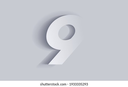 Number nine, 9 with shadow. Cut out paper isolated on background. Vector illustration EPS 10.