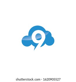 Number Nine with Cloud vector logo design. Technology Hosting Domain Block Chain Server Logo Design.