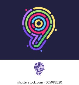 Number nine colorful line fingerprint icon. Vector design template elements for your application or corporate identity.
