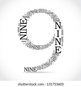number nine created from text - illustration