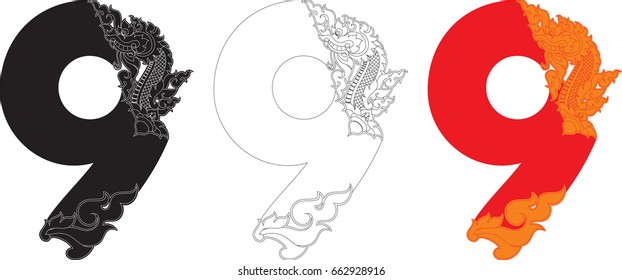 Number Nine, Doodles Swirl Tribal Tail and Head of Naga Number Alphabets (Dragon Monster Art Number Font) Vector Format / Southeast Asia Art Style