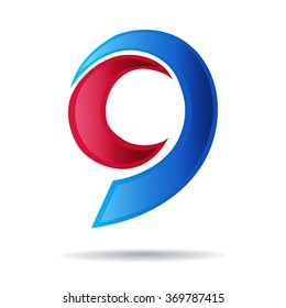 Number nine logo. blue and red glossy style. Vector design template elements for your application or company.