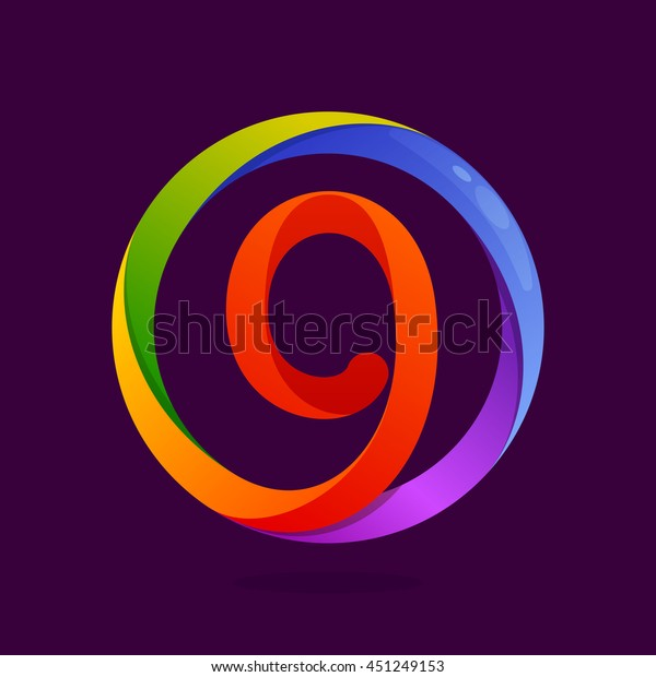 Number nine logo in colorful circle. Vector design for banner, presentation, web page, card, labels or posters.