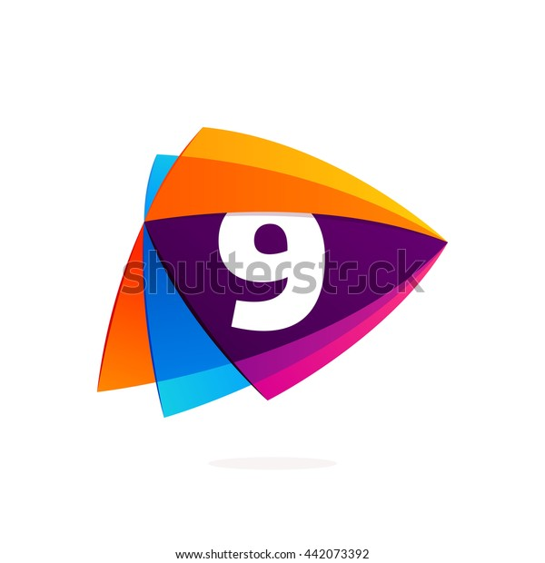 Number nine logo in Play button icon. Colorful vector design for banner, presentation, web page, app icon, card, labels or posters.