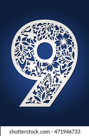 Number nine numeral with floral design. Decorative vector 9 digit with flower autumn pattern. May be used for laser cutting or quilling.