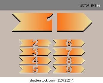 Number nine orange tabs