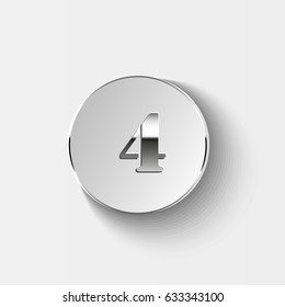 number on button. Vector illustration