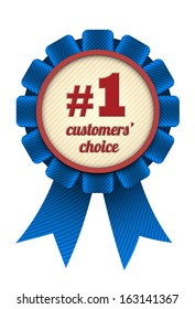 Number one customers' choice award. Blue ribbon isolated on white. EPS10 vector.