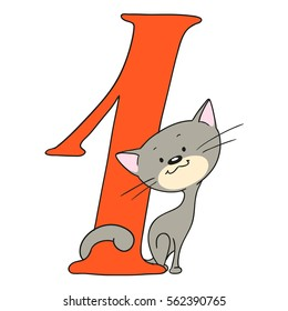 Number one. Fun with numbers and animals. Kitten and figure. Cheerful greetings. Isolated vector doodle.