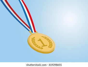 number one gold medal with ribbon on blue background. vector eps 10