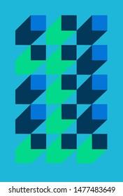Number one is hidden between the blue blocks.