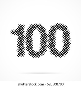 Number One Hundred, 100 in halftone. Dotted illustration isolated on a white background. Vector illustration.