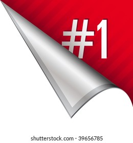 Number one icon on vector peeled corner tab suitable for use in print, on websites, or in advertising materials.