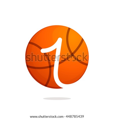 number one logo basketball ball sport stock vector royalty free