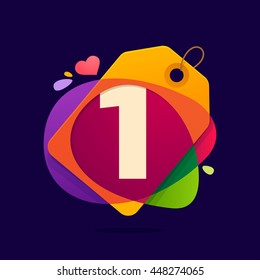 Number one logo in Sale tag, heart and splashes on black. Colorful vector design for banner, presentation, web page, app icon, card, labels or posters.
