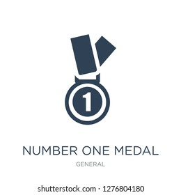 number one medal icon vector on white background, number one medal trendy filled icons from General collection, number one medal vector illustration