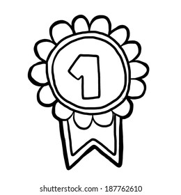 number one prize / cartoon vector and illustration, black and white, hand drawn, sketch style, isolated on white background.