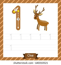 Number one tracing practice worksheet with 1 deer for kids learning to count and to write. Vector Illustration.