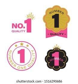 Number one, Vector emblem template set