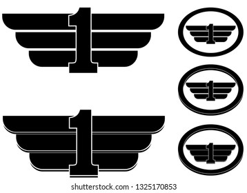 Number one with wings as crest or badge vector
