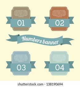 number options banner over beige background. vector