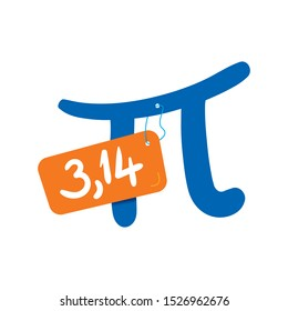 number of pi on the label. vector pi symbol and pi number