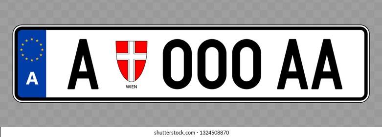 Number plate. Vehicle registration plates of Austria