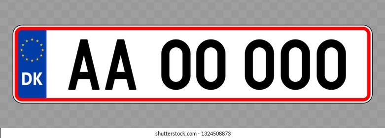 Number plate. Vehicle registration plates of Denmark