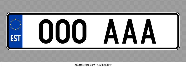 Number plate. Vehicle registration plates of Estonia