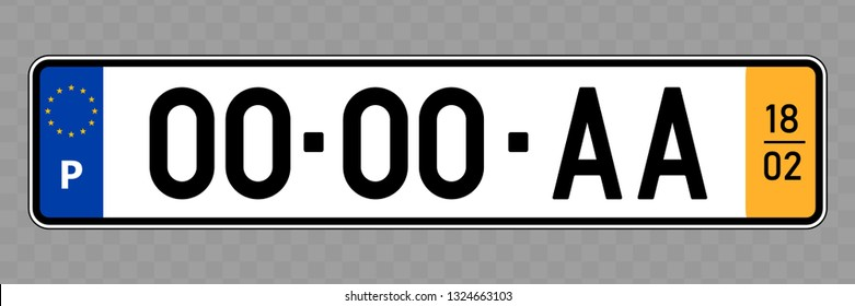 Number plate. Vehicle registration plates of Portugal
